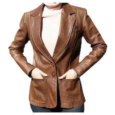 1970s NYC 500 Broadway Oshwahkon Vintage Brown Leather Ladies Hippie Era Blazer Jacket Size M East West