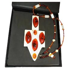 Huge Baltic Amber with Inclusions Artisan Created Pendant Necklace