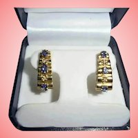 "1"" inch! 14K Gold Diamond & Tanzanite Omega Back Clip Earrings Stacked Pyramid Design"