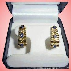 "1"" inch! 14K Gold Diamond & Tanzanite Omega Back Clip Earrings Stacked Pyramid Design"