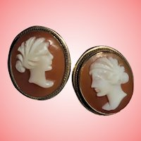 Unusual 14K Gold Romantic Couple Shell Cameo Pierced Earrings Vintage