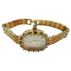 Geneve Genuine Emeralds Gold-filled Ladies Watch Quartz Vintage