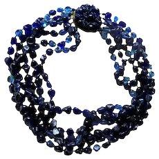 Spectacular Gripoix Cobalt Blue Rare Bijoux Sander Designer 6 Strand Haute Couture Necklace