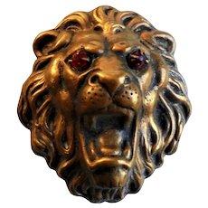 Rare H. Pomerantz N.Y. Lion's Head Figural Dress Clip Pin Brooch