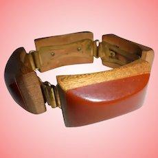 Fabulous Art Deco Era Bakelite Wooden Chunky Slide on Bracelet Injected
