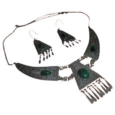 Stunning Sterling Silver Malachite Middle Eastern Draping Bib Festoon Necklace and Earrings Set