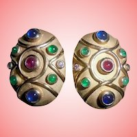 14K Gold Diamond Ruby Emerald Sapphires Omega Clip Earrings Moghul Etruscan