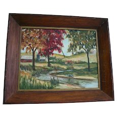 Autumn Country New York Landscape Oil Painting Signed by Artist H. Langford