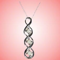 10K White Gold Triple Diamond Pendant Necklace TCW .12