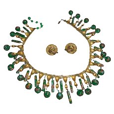 Rare Crown Trifari Green Millefiore Book Piece Fringe Bib Necklace Set with Earrings