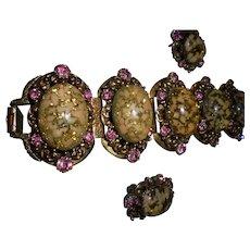 Juliana Rare Over-sized Easter Egg Pink Rhinestone Confetti Cabochon Bracelet Earrings Set Demi Parure