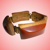 Fabulous Art Deco Era Bakelite Wooden Chunky Slide on Bracelet Injected