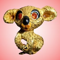Huge 18K Solid Gold Italy Mid-Century Koala Teddy Bear Brooch Fur Clip