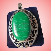 Sterling Silver & Malachite Huge Chunky Southwest Pendant