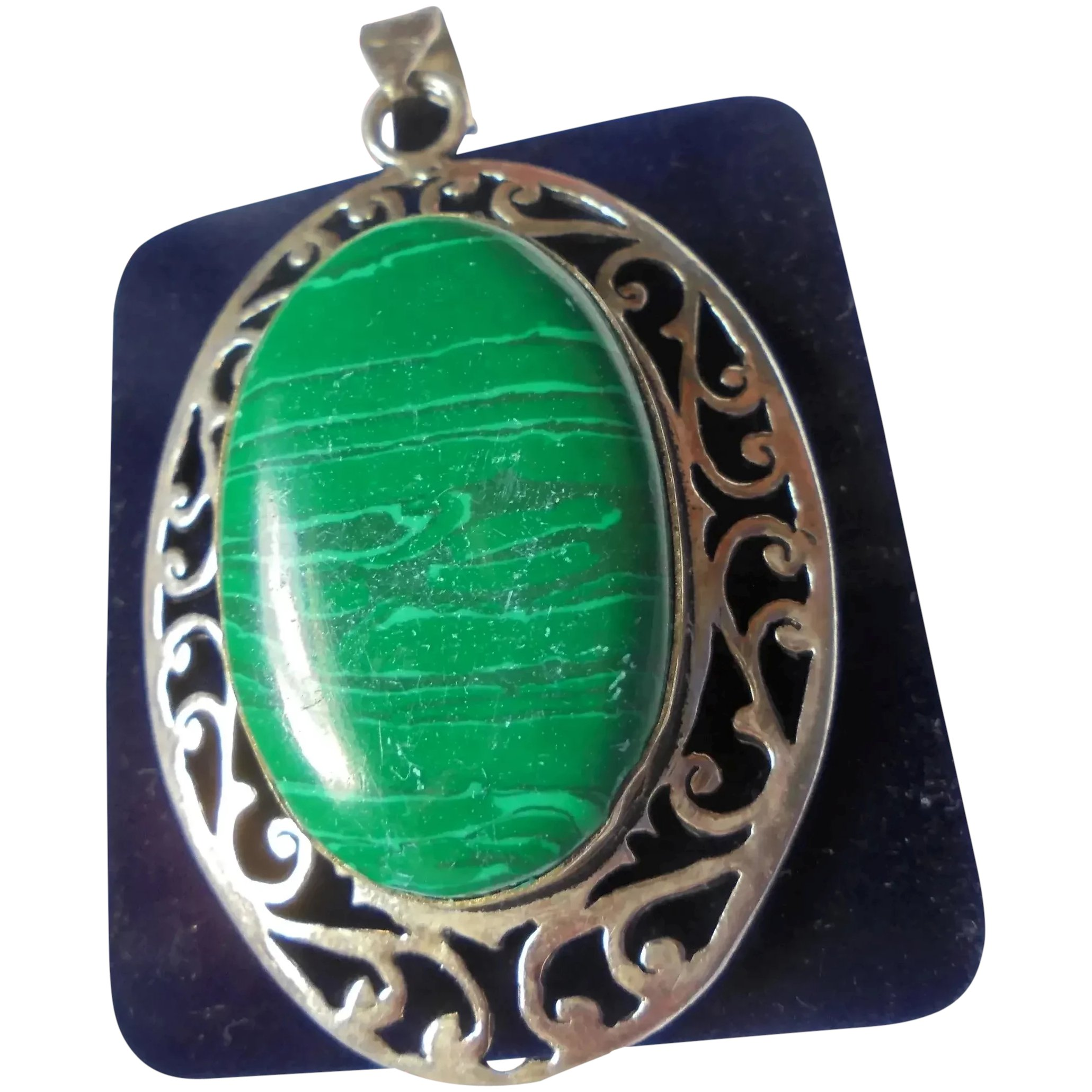 Southwestern Sterling Silver Malachite Necklace