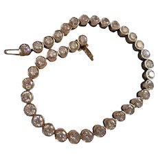 Approx $19,000 Value Estimation by GIA Graduate ~ Stunning TCW 7.5 18K Gold Round Cut Diamond Tennis Bracelet Bezel Set 37 Diamonds