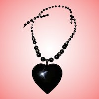 Vintage Onyx Gold-Filled Chunky Heart Pendant Necklace