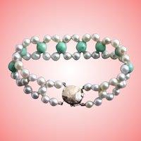Exquisite 14K Gold Jade & Cultured Pearl Bracelet
