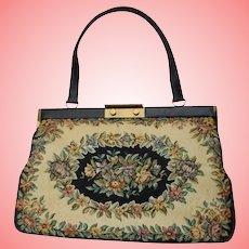 Large Bon Gout Handbag Made In Denmark Floral Black, Beige & Flowers Tapestry Bag  Danish