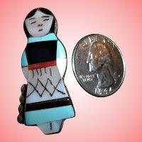 Vintage Navajo Signed Kachina Doll Pendant Inlaid Turquoise Onyx Pin