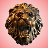 Rare H. Pomerantz N.Y. Lion's Head Figural Dress Clip Pin Brooch