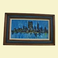 Stunning New York City Manhattan Skyline Abstract Oil Painting c1960's Signed Illegible MCM Modern