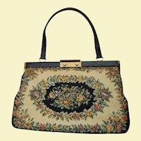 Large Bon Gout Handbag Made In Denmark Spring Floral Black, Beige & Flowers Tapestry Bag  Danish