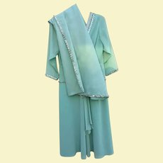 Beautiful Mary Martin of Florida Dress w/ Shawl  2 Piece Ensemble Mint Green with Sequins Party Cocktail Evening Special Occasion Attire