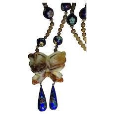 Jade and Cloisonne Butterfly Pendant Gold-filled Pendant Necklace