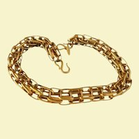 Rare Gloria Sachs Vintage Runway Couture Chunky Gold-tone Reticulated Necklace