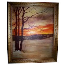 Gunpowder Falls Maryland Sunset Oil Painting 1965 Towson Art Show 1st Prize Winning Landscape