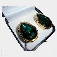 Huge Swarovski Emerald Green Crystal with Clear Crystal Accents Vintage Clip Earrings Swan Mark Signed