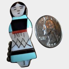 Vintage Navajo Signed Kachina Doll Pendant Inlaid Turquoise Onyx Pin