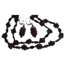 Vintage Garnet Grape Cluster Earrings and Sautoir Necklace Set