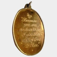 Valentine's Day! Romantic Poem Art Nouveau Two Sided Gold Filled Pendant Gift of Love Inscription