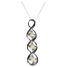 Past Present Future Triple Diamond 10K White Gold Pendant Necklace