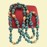 Gorgeous Denim Blue Sodalite & Gold-Plated Sautoir Beaded Necklace
