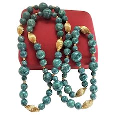 Gorgeous Denim Blue Sodalite & Gold-Plated Sautoir Beaded Necklace