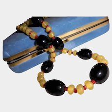 Art Deco Era Bakelite and Lemon and Cherry Red Crystal Spacer Bead Necklace