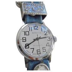 Cowgirl Ladies Remington Western Buckle Style Watch Brooch Blue Denim Manual Wind