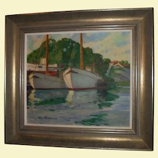 Scandinavian Oil Painting Ships in Harbor Seascape by Olle Skoggman Swedish Listed Artist