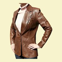 1970s NYC 500 Broadway Oshwahkon Vintage Brown Leather Ladies Hippie Era Blazer Jacket Size M East West