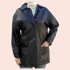 Ladies Luxurious Soft Italian Black Leather Jacket Car Coat by Athos Florence Italy Size L