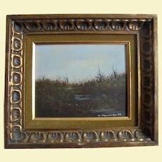 American Realism Landscape Painter John Lewis Egenstafer 1968 Oil Painting of Marsh Land in Gilt Ornate Frame Listed Pennsylvania Artist
