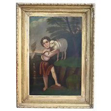 Large Saint John The Baptist With The Lamb Antique Oil Painting 18th Century Christian Catholic Art Museum Worthy Religious Theme