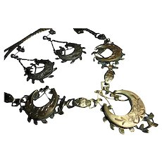 Rare Antique Crescent Moon & Flowers 3-D Sterling Silver Draping Bib & Earrings Set Signed FM