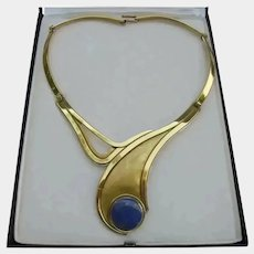 Chilean Red Carpet Designer Trittini Stunning Lapis Lazuli Gold Plated Collar Necklace Modernist Runway Worthy Signed