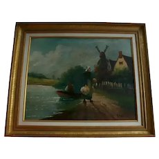 19th Century Antique Dutch Flemish Lake Side Seascape Original Oil Painting Holland Windmill Landscape Signed