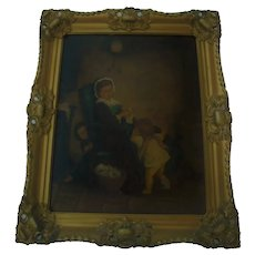 Delightful Antique Oil Painting Mother Knitting with Children Playing Peekaboo Gilt Ornate Frame Child