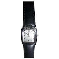 Beautiful! Vintage New Coach Logo Equestrian Style Ladies Watch Silver Tone Leather Strap Never Worn
